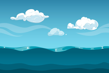 cartoon cloud: Sea or ocean cartoon landscape with sky and clouds. Seamless water waves background for computer game design. Landscape with water waves and cloud vector illustration