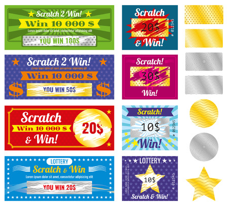 Prize and luck lottery tickets. Lottery tickets with scratch effect on marks. Prize and luck, chance and win templates.  Vector illustration Çizim