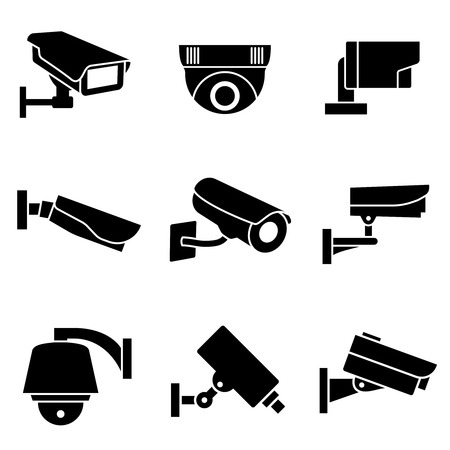 security cameras: Video surveillance security cameras, CCTV vector icons. Surveillance camera for safety and protection signs Illustration