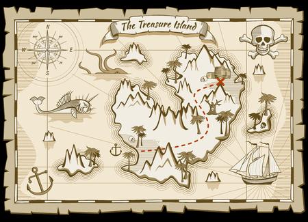 Tesoro pirata dibujado a mano mapa vectorial. mapa del pirata con el barco y la navegación a un tesoro. Isla manera mapa del tesoro ilustración