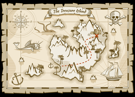 Treasure pirate hand drawn vector map. Pirate map with ship and navigation to treasure. Island way treasure map illustration