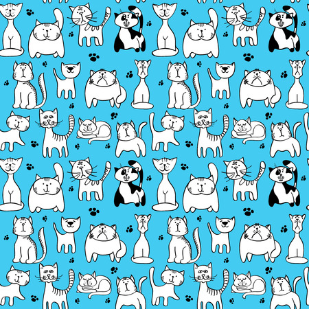 feline: Vector seamless pattern with cute cats. Animal character cat muzzle and backdrop with feline cat and footprint illustration
