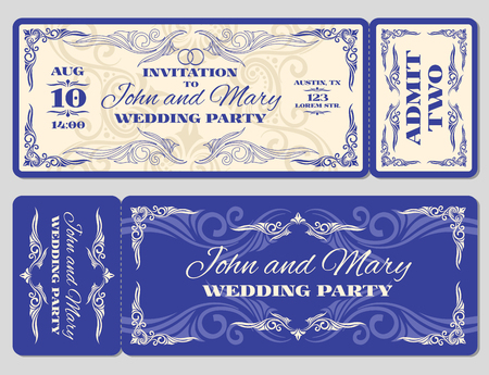 detachable: Vector vintage ticket wedding invitation. Ticket card for celebration wedding and invitation to wedding marriage illustration