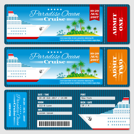 Cruise ship boarding pass ticket. Honeymoon wedding cruise invitation vector template. Travel ticket to sea or ocean cruise ship Imagens - 57404962