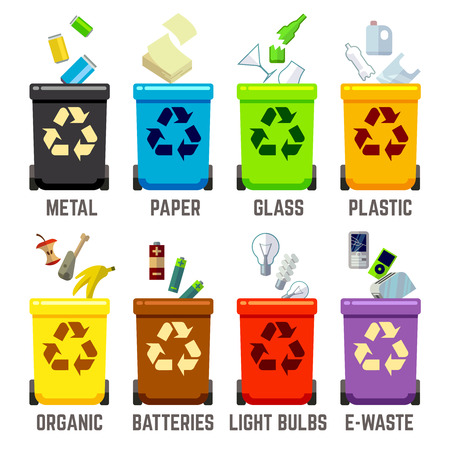 waste management: Recycle bins with different waste types. Waste management concept. Color containers for waste. Vector illustration
