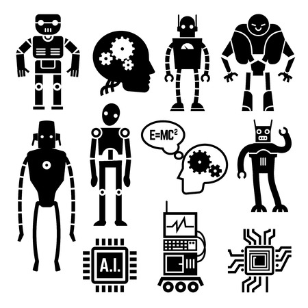 ai: Robots and cyborgs, androids and artificial intelligence vector icons. Machine cyborgs with artificial intelligence and toy androids with ai