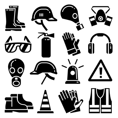 Persoonlijke beschermingsmiddelen vector iconen set. Helm bescherming, masker en handschoenen voor het werk en de bescherming illustratie