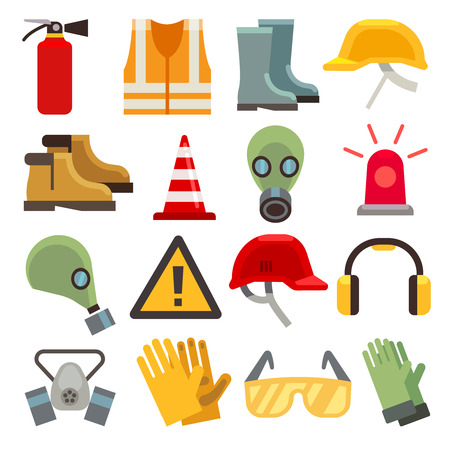 Safety work flat vector icons set. Workwear for safety, shoe and glove safety clothing, helmet and extinguisher illustration Imagens - 57404969
