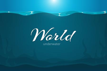 Underwater vecteur de fond. Cartoon mer comique d'art ou de l'océan fond sous-marin. sous-marine profonde dans la rivière ou un lac