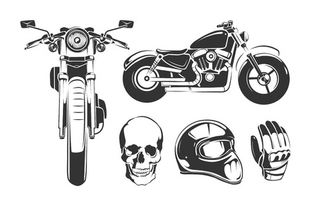 Elements for vintage vector motorcycle labels. Motorbike and skull, gloves and motorcycle helmet
