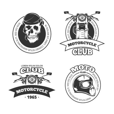 Vintage vettore moto o moto logo del club insieme. Chopper casco e cranio per il motociclo del club