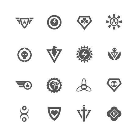 Superheroes vector badges. Protect and power superhero logo templates