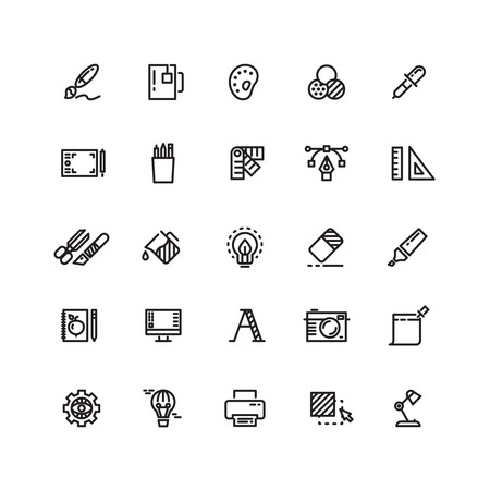 Graphic design tools creative office stationery line thin icons set. Tool stationery for