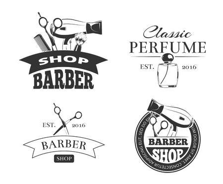 Retro barbiere vettore emblema o logo set. etichette Barbershop d'epoca con elementi di design tipografia Logo