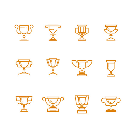 champ: Trophy cup line vector icons set. Trophy award and win achievement cup prize. Sign success goblet or cup for champ illustration Illustration
