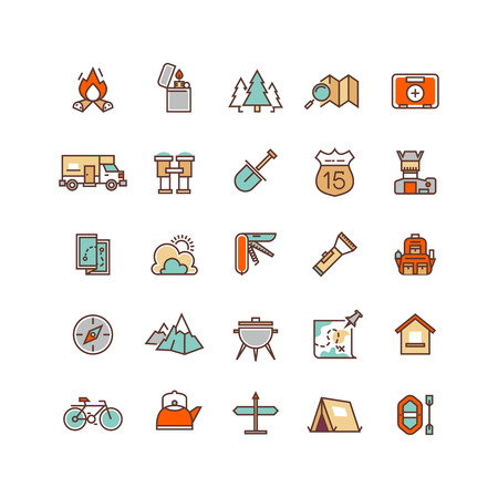 Camping and hiking flat vector icons for infographics. Travel icon hiking and outdoor camping for hiking tourism illustration 向量圖像