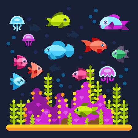 life style: Underwater life with sea animals in flat style. Water ocean animal fish and underwater illustration vector fish