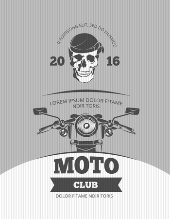 motocycle: Vintage motorcycle, world bikers festival, race vector poster template. Motorcycle retro banner and poster with motocycle illustration