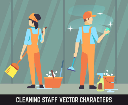 Cleaning staff vector characters woman and man with cleaning tools. Cleaner staff with broom, service cleaning team cleaner illustration