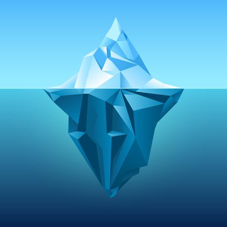 Iceberg in blue ocean vector background. Polygonal iceberg underwater, metaphor business iceberg northern on water sea illustration Illustration