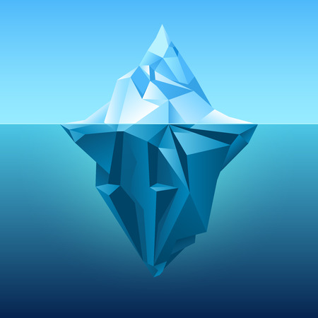 Iceberg in blue ocean vector background. Polygonal iceberg underwater, metaphor business iceberg northern on water sea illustration Vectores