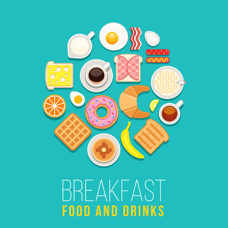 circle objects: Vector breakfast concept with food and drinks with flat icons in circle composition. Breakfast composition sandwich and omelette, breakfast food bakery illustration Illustration