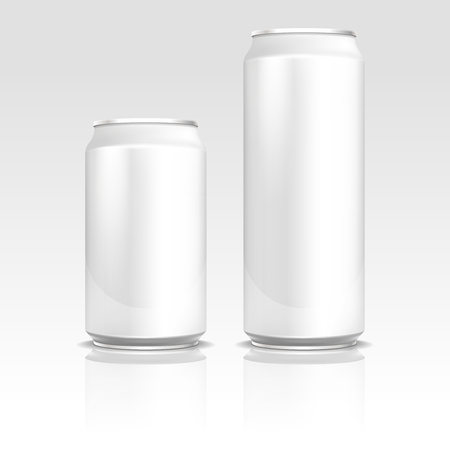 ml: Aluminum energy drink soda beer cans 500 and 330 ml vector realistic template. Metal blank container for drink, refreshment beverage container design illustration