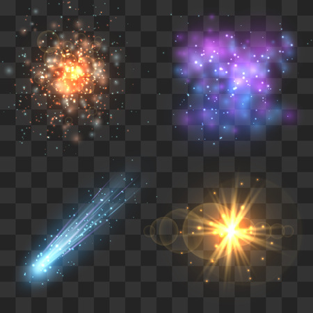 Space cosmos objects, comet, meteor, stars explosion on transparence checkered background. Universe explosion or fly star, meteor light and asteroid in universe. Vector illustration Vektorové ilustrace