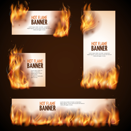 burning paper: Burning campfire with hot flame vector banners. Paper advertising burn, fire hot advertising illustration