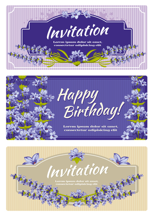 fragrant bouquet: Greeting card, wedding invitation vector template with lavender flowers. Greeting invitation card for wedding and card template with flower lavender illustration Illustration