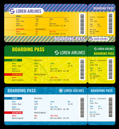 charter: Airline boarding pass modern tickets vector mockup. Ticket template to charter plane, pass boarding ticket travel illustration Illustration