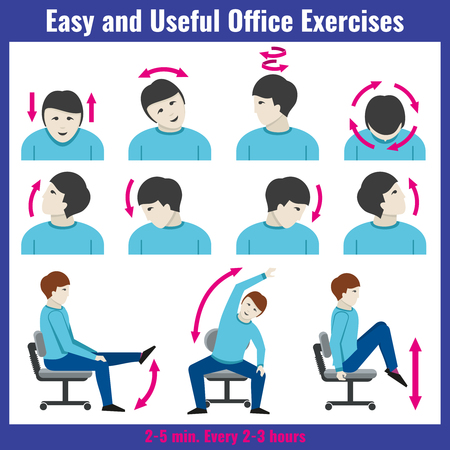 Office syndrome health care concept vector infographic.  Syndrome pain office and infographic people exercises for office work illustration Vettoriali
