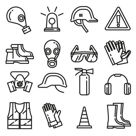 Iconos delgadas protección de obras de seguridad de línea de los elementos del vector. Objeto para el estilo de protección lineal. Profesional máscara de protección respiratoria y la ilustración de la ropa de protección