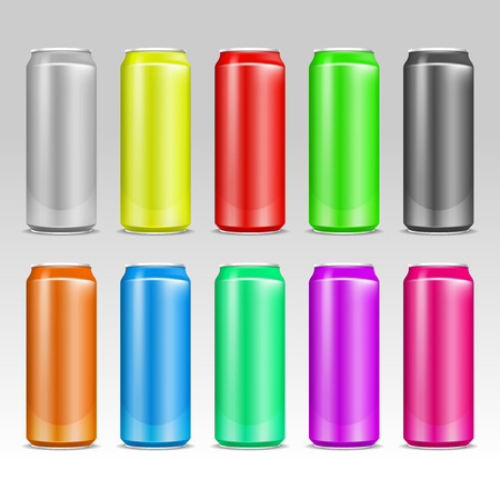 aluminum: Aluminum realistic colored vector drink cans. Aluminum color container for water or beer, colored aluminum cans beverage illustration