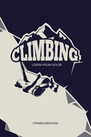 mountaineering: Climbing, trekking, hiking, mountaineering vector background. Mountain climbing sport and adventure outdoor climbing illustration Illustration