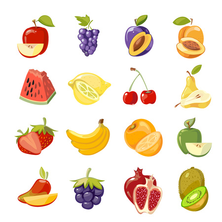 Vector juicy fruits collection. Fruit food set fresh, orange sweet and nature lemon fruit illustration Illustration