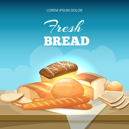 snack cartoon: Bread concept vector background. Bakery poster template. Baguette and bakery bread illustration snack
