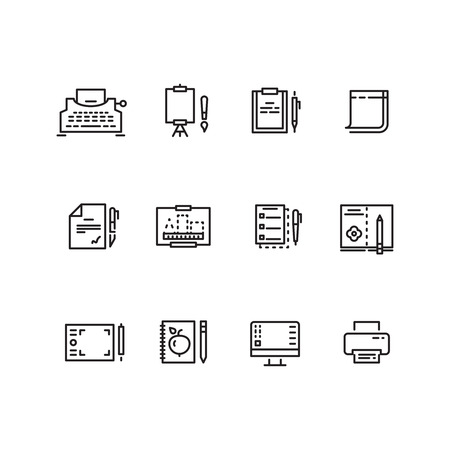 writing equipment: Writing tools linear icons. Tool tablet and pen for writing and drawing, equipment to writing vector illustration