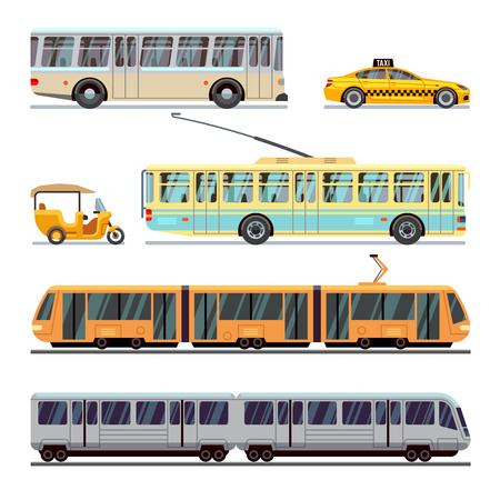 municipal: Municipal city transport vector flat icons set. Transportation vehicle municipal and transport of set municipal illustration Illustration