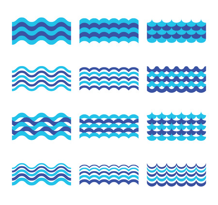 Marine, sea, ocean waves vector set. Sea water wave element, design wave ocean for web design illustration