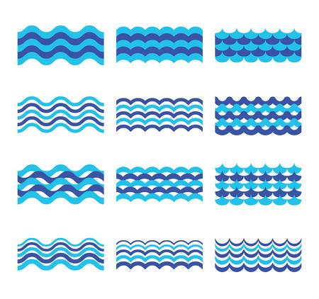 water flows: Marine, sea, ocean waves vector set. Sea water wave element, design wave ocean for web design illustration