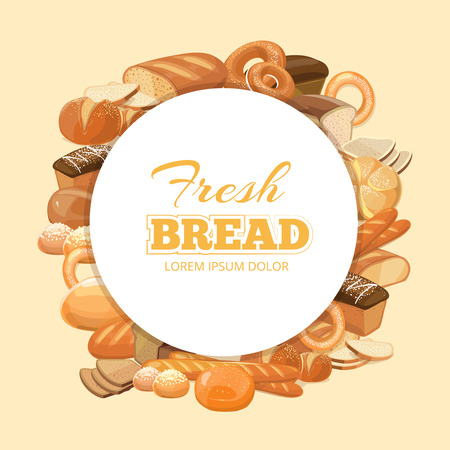 kinds: Different kinds bread vector background. Cereal bread natural and emblem with product bread and bakery illustration