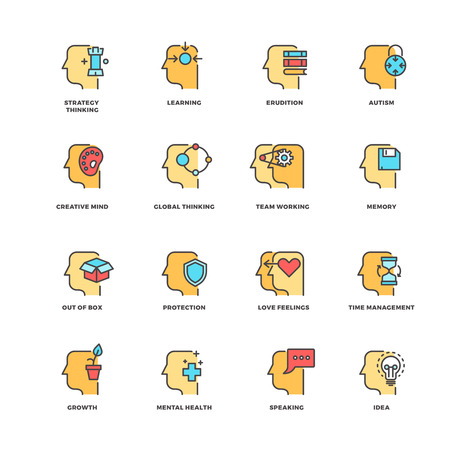 erudition: People brain thinking, mental health outline icons with flat elements. Head human and brain process human. Vector illustration