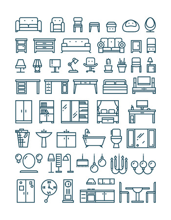 kitchen shower: Furniture and sanitary line thin vector icons. Furniture interior set icon and furniture for home room kitchen and bathroom illustration Illustration