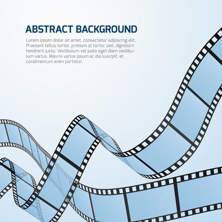 cinematography: Film strip roll vector cinema background. Cinematography strip film background and wave stripe film illustration