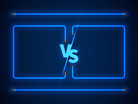 Versus screen with blue neon frames and vs letters. Competition vs match game, martial battle vs sport. Stock vector illustration
