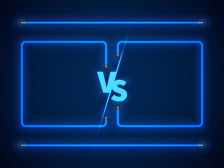 Versus écran avec des cadres de néon bleu et vs lettres. Compétition vs jeu du match, la bataille martiale vs sport. Stock illustration vectorielle