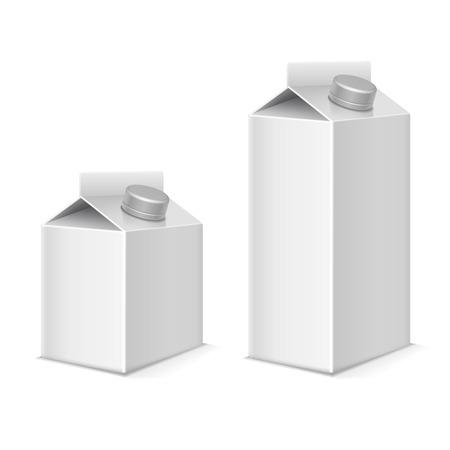 lait de papier et les contenants d'emballage tétra vecteur produit de jus mockups fixés. papier d'emballage pour boisson, paquet de modèle pour le lait ou de jus illustration Vecteurs