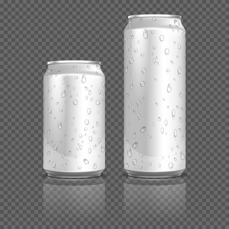 liquid metal: Realistic aluminum cans with water drops. Container bank metal for beverage, aluminum container with liquid. Stock vector illustration Illustration