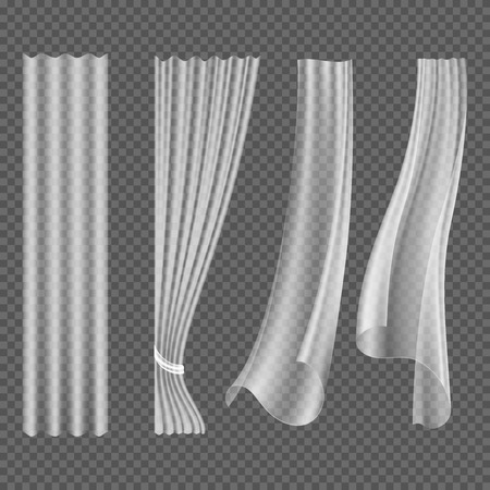 window curtain: Transparent white fluttering curtains, hanging window decoration vector set. Textile curtain and curve wave drapery, curtain isolated illustration